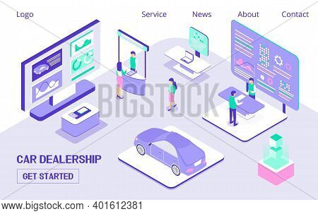 Car Dealership, Expo Horizontal Banner. People Walking Near Huge Screen. Advertising Products, Auto