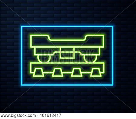 Glowing Neon Line Cargo Train Wagon Icon Isolated On Brick Wall Background. Freight Car. Railroad Tr