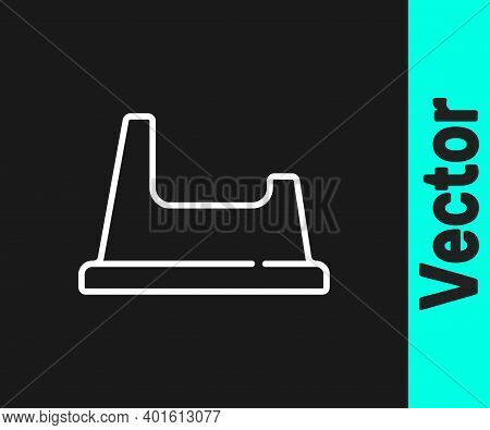 White Line Baby Potty Icon Isolated On Black Background. Chamber Pot. Vector