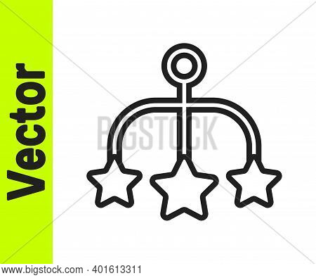 Black Line Baby Crib Hanging Toys Icon Isolated On White Background. Baby Bed Carousel. Vector