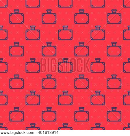 Blue Line Suitcase For Travel Icon Isolated Seamless Pattern On Red Background. Traveling Baggage Si