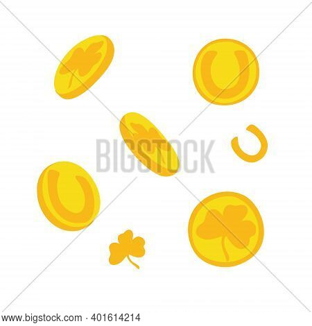 Golden Coins Symbol Of Luck, Prosperity And Fortune For Traditional Irish St Patrick Day Holiday Vec