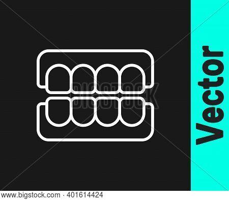 White Line False Jaw Icon Isolated On Black Background. Dental Jaw Or Dentures, False Teeth With Inc