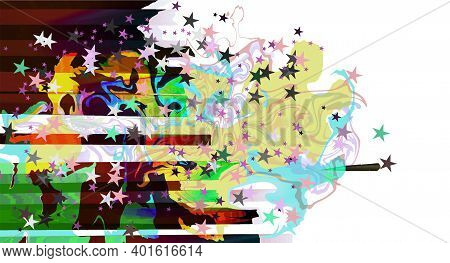 Abstract Multicolor Bright Curves, Lines And Stars Holiday Festive Background Isolated On While At O