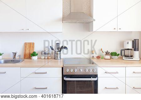 Scandinavian Classic Minimalistic Kitchen With White And Wooden Details. Modern White Kitchen Clean