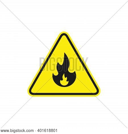 Fire Warning Sign In Yellow Triangle. Flammable, Inflammable Substances Icon. Vector Isolated Sign.