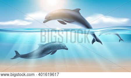 Nautical Realistic Background With Jumping Dolphin In Sea Water Illuminated By Sunlight Vector Illus