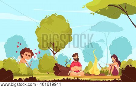 Amur Cupid Valentine Day Composition With Outdoor Park Scenery And Couple Sitting Near Bonfire With