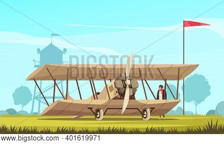 Vintage Transport Airplane Composition With Outdoor Landscape And View Of Field With Classic Turbo P