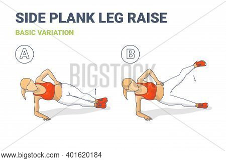 Side Plank Leg Raise Female Home Workout High Intensity Exercise Guide Colorful Concept