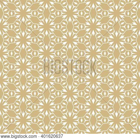 Abstract Vector Geometric Seamless Pattern. Golden Lines Texture, Elegant Floral Lattice, Mesh, Weav