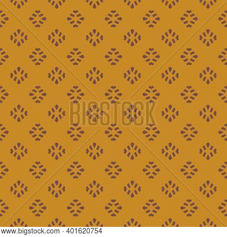 Vintage Geometric Seamless Pattern. Vector Abstract Texture With Small Shapes. Brown And Yellow Colo