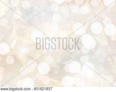 Light Radiant Sun Vector Design Frame. Stylish Beige And Gold Glitter Card. Bokeh Clouds Card. Spark