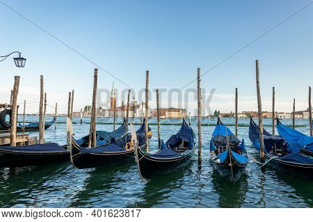 Grand Canal With Gondolas In Travel Europe Venice City, Italy. Old Italian Architecture With Landmar