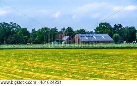 Typical Dutch Farm Building In The Fields, Country Landscape, Waterlandkerkje, Zeeland, The Netherla