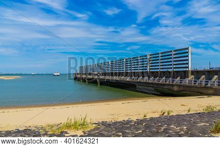 The Beach Of Breskens With Jetty, Zeeland, The Netherlands