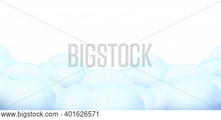 Blue Cloudscape Scene Or Cloudy Weather Sky Panorama. Vector Illustration Of Cartoon Fluffy Clouds I