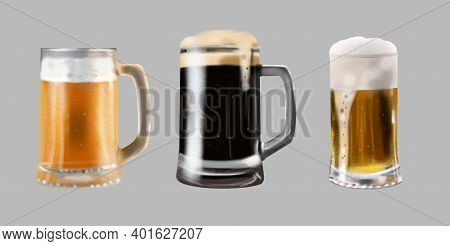 Illustration Set Of Glasses With Beer. Light Beer, Unfiltered Beer, Dark Beer.