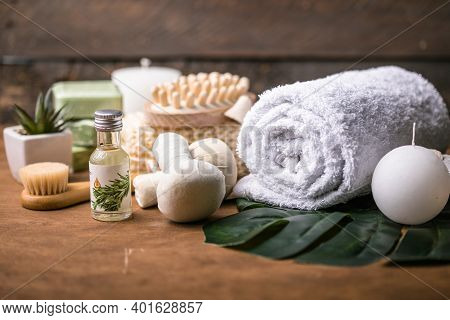 Wellness Decoration, Spa Massage Setting,  Oil On Wooden Background. Spa, Zen And Relax Concept.spa
