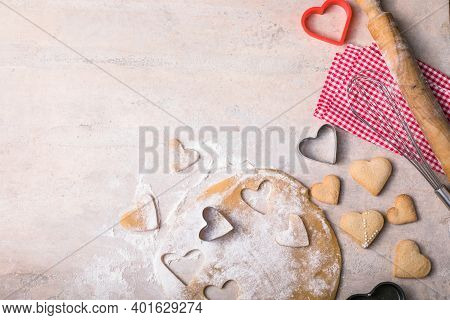 Valentine Day Baking Background. Ingredients For Cooking Valentine's Heart.  Top View Copy Space. Va