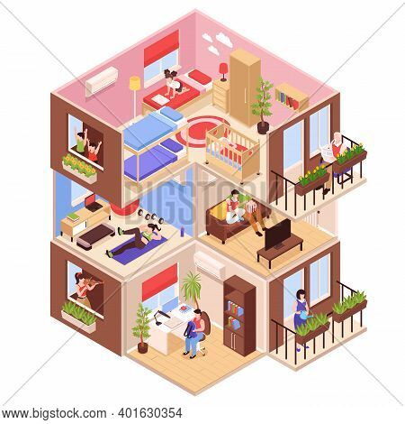 Isometric Neighbors Composition With Profile View Of High Rise Block With Upstairs And Downstairs Ne
