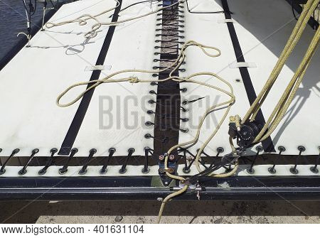 Close Up Of Canvas And Catamaran Ropes Made For Regattas And Day Sailing. Nautical Boat Pattern. The