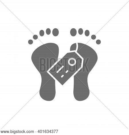Feet With Tag, Morgue, Dead Body Gray Icon.