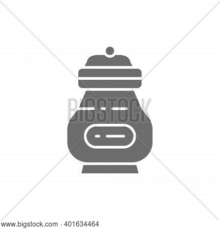 Cremation Vessel With People Ashes, Funeral Urn Gray Icon.