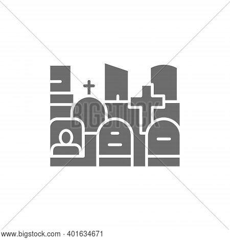 Vector Cemetery, Tombstones, Gravestones, Grave Gray Icon.
