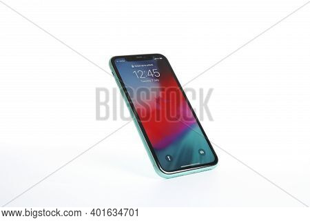 Mykolaiv, Ukraine - July 9, 2020: Iphone 11 With Locked Screen Isolated On White