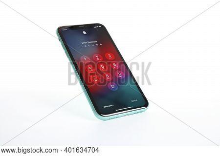 Mykolaiv, Ukraine - July 9, 2020: Iphone 11 With Lock Screen Isolated On White