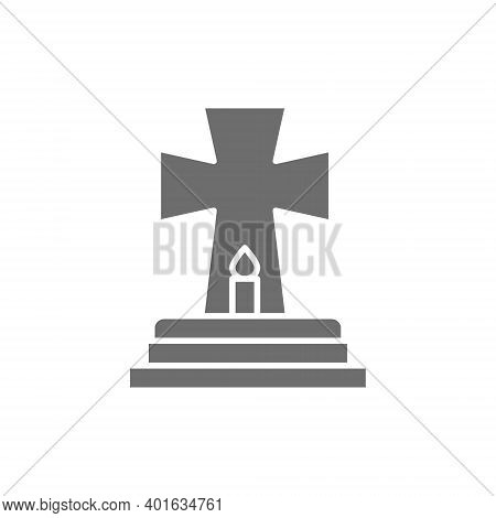 Tombstone With Candle, Grave, Gravestones Gray Icon.