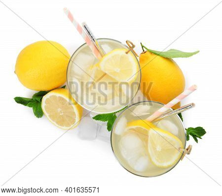 Natural Lemonade, Mint And Fresh Fruits On White Background, Top View. Summer Refreshing Drink