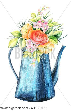 Garden Watering Can With Flowers Isolated On White Background