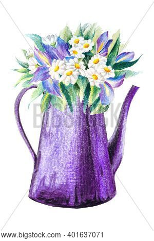 Violet Garden Watering Can With Flowers Isolated On White Background