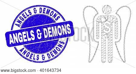 Web Mesh Angel Investor Pictogram And Angels And Demons Seal Stamp. Blue Vector Round Textured Stamp