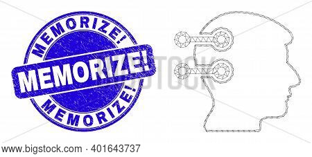 Web Mesh Brain Interface Links Pictogram And Memorize Exclamation Seal Stamp. Blue Vector Rounded Sc