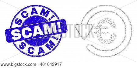 Web Carcass Euro Chargeback Icon And Scam Exclamation Seal Stamp. Blue Vector Rounded Distress Seal