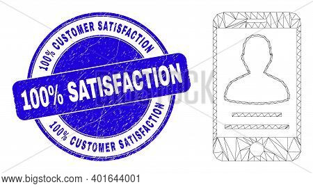 Web Mesh Mobile Person Contact Pictogram And 100 Percents Customer Satisfaction 100 Percents Satisfa