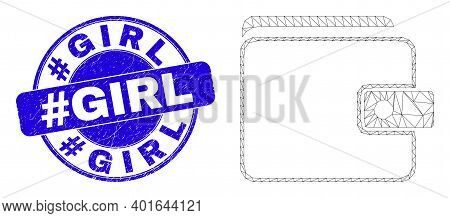 Web Mesh Purse Pictogram And Hashtag Girl Seal Stamp. Blue Vector Round Grunge Stamp With Hashtag Gi