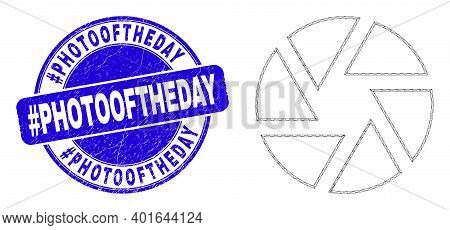 Web Carcass Shutter Icon And Hashtag Photooftheday Seal Stamp. Blue Vector Rounded Scratched Seal St