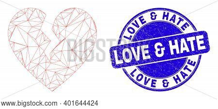 Web Carcass Broken Heart Icon And Love And Hate Seal Stamp. Blue Vector Rounded Grunge Stamp With Lo