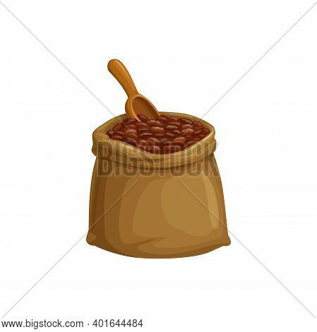 Cocoa Beans Sack Or Coffee Beans Bag, Vector Isolated Icon Of Seeds And Scoop Spoon. Cacao Beans In
