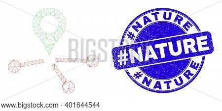 Web Carcass Map Pointer Links Icon And Hashtag Nature Seal Stamp. Blue Vector Rounded Textured Seal