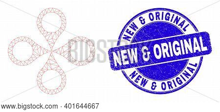 Web Mesh Quadrocopter Pictogram And New And Original Seal Stamp. Blue Vector Rounded Grunge Seal Sta