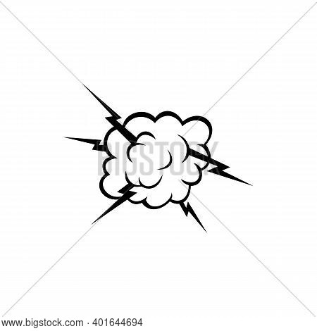 Cloud With Thunder Isolated Comic Burst Sign. Vector Boom Or Puff Symbol, Lightnings