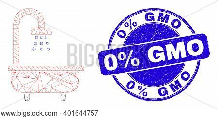 Web Mesh Shower Bath Pictogram And 0 Percents Gmo Seal Stamp. Blue Vector Round Grunge Watermark Wit