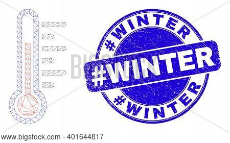 Web Carcass Temperature Pictogram And Hashtag Winter Seal. Blue Vector Round Textured Seal Stamp Wit