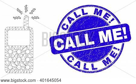 Web Mesh Cell Phone Icon And Call Me Exclamation Seal Stamp. Blue Vector Rounded Scratched Stamp Wit