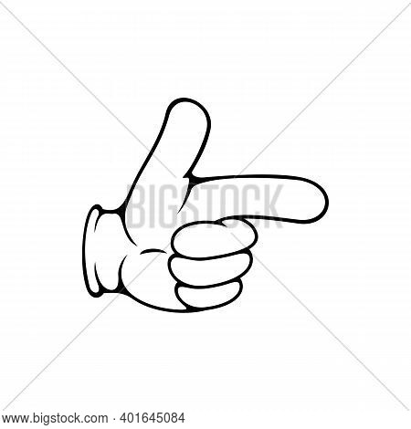 Pointing Forefinger Isolated Hand In Glove. Vector Gesture, Arm Showing Direction Or Way To Right
